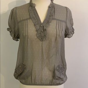 Anthropologie Petticoat Alley gray silk blouse